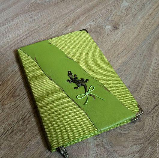 """Блокноты ручной работы. Ярмарка Мастеров - ручная работа. Купить Блокнот """"Ящерица"""". Handmade. Зеленый, блокнот для записей, натуральная кожа"""