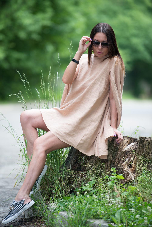Short beige linen tunic dress - DR0083LE, Tunics, Sofia,  Фото №1