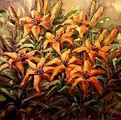Картины и панно ручной работы. Ярмарка Мастеров - ручная работа Картина маслом Оранжевый сад. Лилии. Handmade.