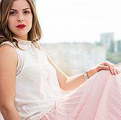 Одежда ручной работы. Ярмарка Мастеров - ручная работа Юбка плиссе, юбка длинная, юбка розовая, ЮБКА летняя плиссе. Handmade.
