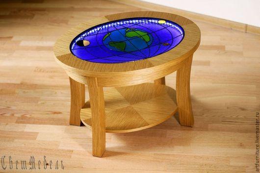 Мебель ручной работы. Ярмарка Мастеров - ручная работа. Купить Овальный журнальный столик с подсветкой Вселенная. Handmade. Стол