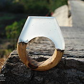Украшения handmade. Livemaster - original item Celestial ring of epoxy resin and wood. Handmade.