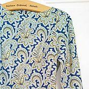 Одежда ручной работы. Ярмарка Мастеров - ручная работа Платье Бирюзовое пейсли Хлопок 100%. Handmade.