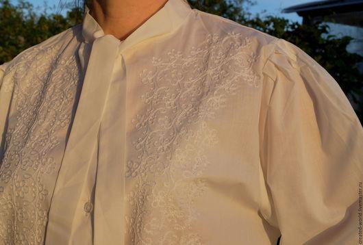 Одежда. Ярмарка Мастеров - ручная работа. Купить Блузка с вышивкой. 50 размер. Handmade. Белый, блузка из хлопка, хлопок