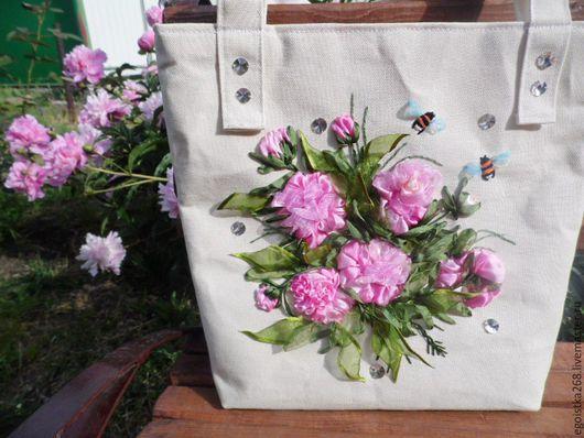 """Женские сумки ручной работы. Ярмарка Мастеров - ручная работа. Купить сумка """"Круиз,день шестой"""",лён,вышивка лентами. Handmade."""