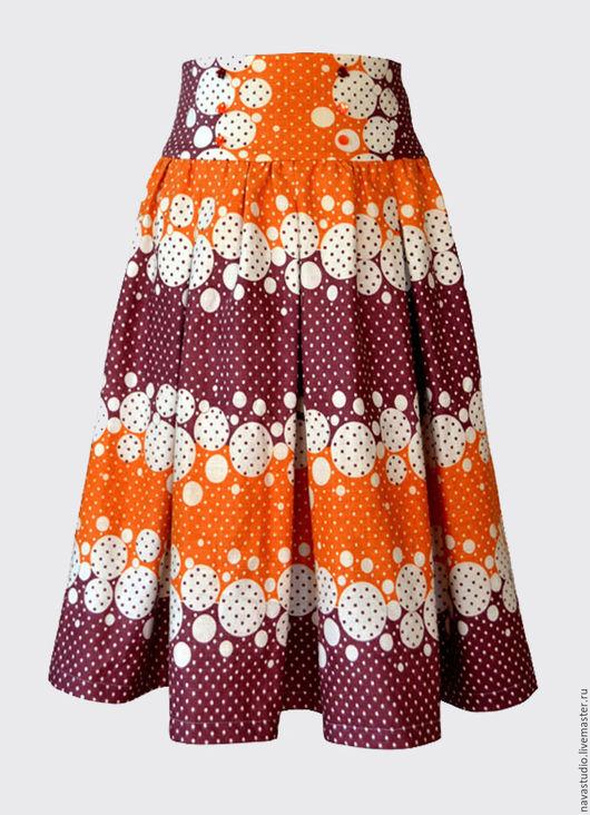 Юбки ручной работы. Ярмарка Мастеров - ручная работа. Купить Льняная юбка со складками (арт 3180). Handmade. Рыжий