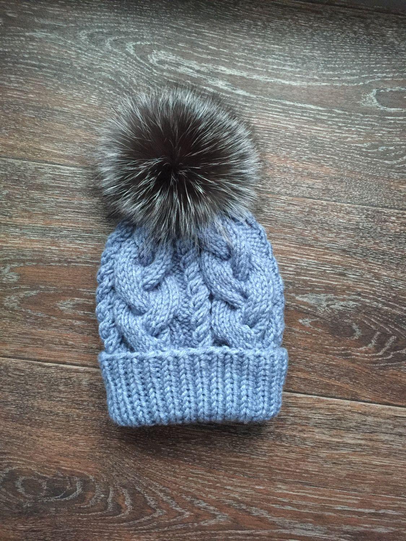 шапка с меховым помпоном купить в интернет магазине на ярмарке