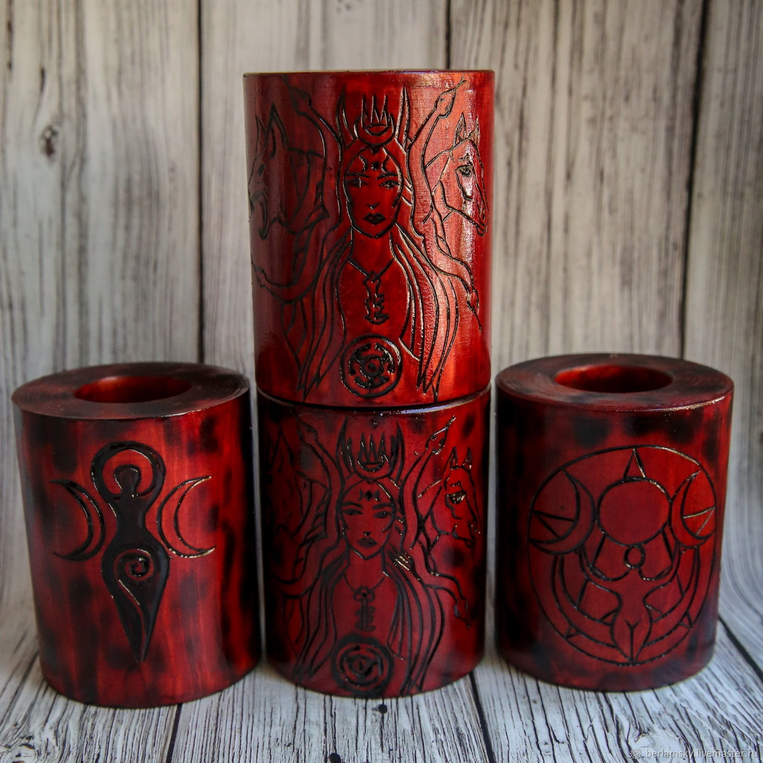 Altar candlesticks red Hecate and Wicca, Altar of Esoteric, Volokolamsk,  Фото №1