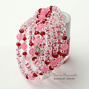 Украшения handmade. Livemaster - original item Bracelet Summer pink beads Farfalle and quartz. Handmade.