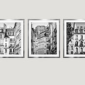 Картины и панно handmade. Livemaster - original item Paris photo paintings black and white posters, triptych Windows on the streets of Paris. Handmade.