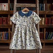 Одежда детская handmade. Livemaster - original item Linen dress with blue collar. Handmade.