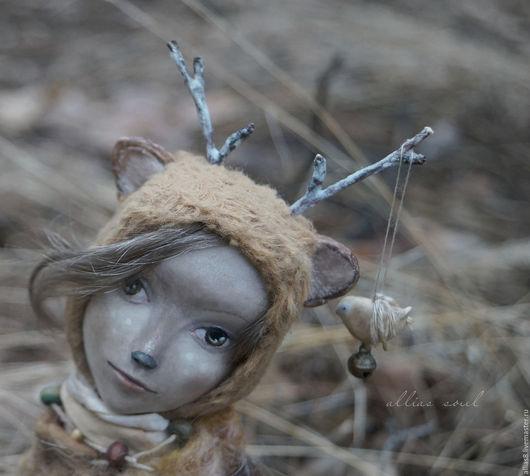 Коллекционные куклы ручной работы. Ярмарка Мастеров - ручная работа. Купить Флай. Handmade. Бежевый, олененок, акварель, дерево
