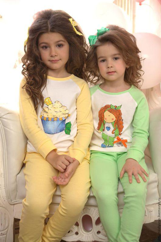"""Одежда для девочек, ручной работы. Ярмарка Мастеров - ручная работа. Купить Желтая пижамка """"Пироженка"""". Handmade. Комбинированный, пижама для девочки"""