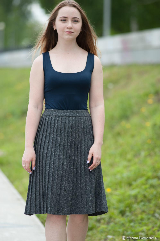 Серая плиссированная юбка, Юбки, Екатеринбург,  Фото №1