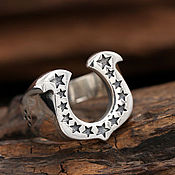 Украшения handmade. Livemaster - original item Horseshoe ring with stars from 925. Handmade.
