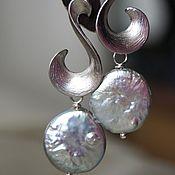 Украшения ручной работы. Ярмарка Мастеров - ручная работа Серьги с натуральным серым барочным жемчугом в серебре. Handmade.