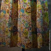 Одежда ручной работы. Ярмарка Мастеров - ручная работа Юбка-штапель бирюзовый цветочек. Handmade.