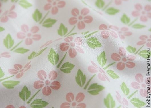 Шитье ручной работы. Ярмарка Мастеров - ручная работа. Купить Ткань хлопок Цветики (розово-зеленые). Handmade. Ткань для творчества