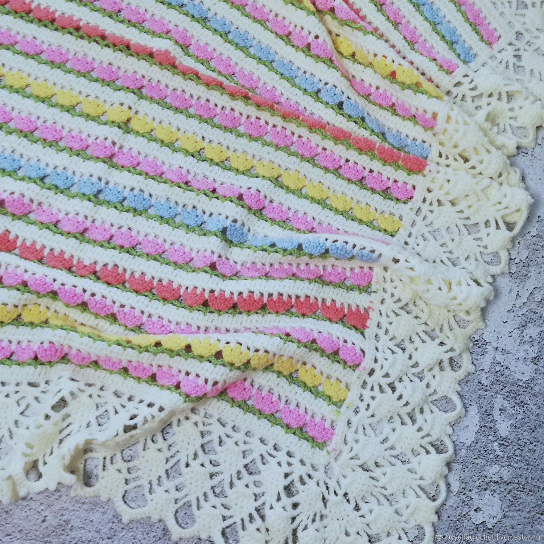 Children's blanket knitted, summer blanket knitted, flowers, newborn, Blankets, Krasnodar,  Фото №1