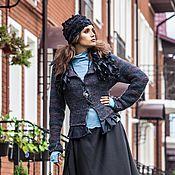 Одежда ручной работы. Ярмарка Мастеров - ручная работа V_004 Жакет приталенный с баской, с черными в белую крапинку оборками. Handmade.