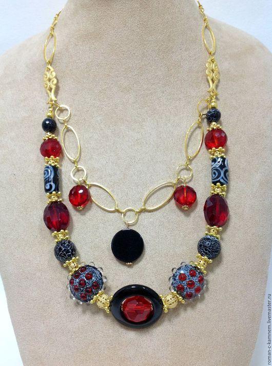 Комплект украшений из хрусталя и натуральных камней в этническом восточном стиле Фламенко. Идеальное дополнение для утонченного, женственного стиля для платья с открытыми плечами