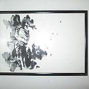 Картины и панно ручной работы. Ярмарка Мастеров - ручная работа картина пейзаж Деревня осенью. Handmade.