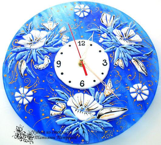 Часы для дома ручной работы. Ярмарка Мастеров - ручная работа. Купить настенные часы МАГИЯ СИНЕГО, фьюзинг, стекло. Handmade.