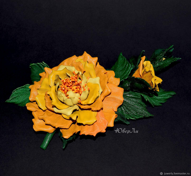 Брошь из кожи Желтая роза, Брошь-булавка, Минск,  Фото №1