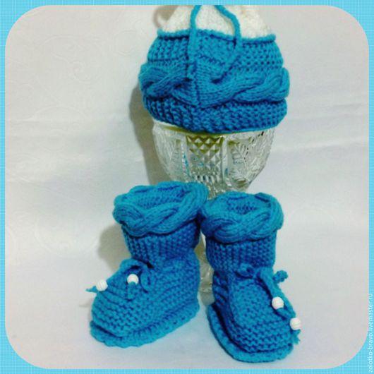 Для новорожденных, ручной работы. Ярмарка Мастеров - ручная работа. Купить Комплект ШАПКА и ПИНЕТКИ голубой. Handmade. Тёмно-бирюзовый
