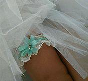 """Свадебный салон ручной работы. Ярмарка Мастеров - ручная работа Подвязка свадебная """"Shimmer Mint"""" для невесты. Handmade."""