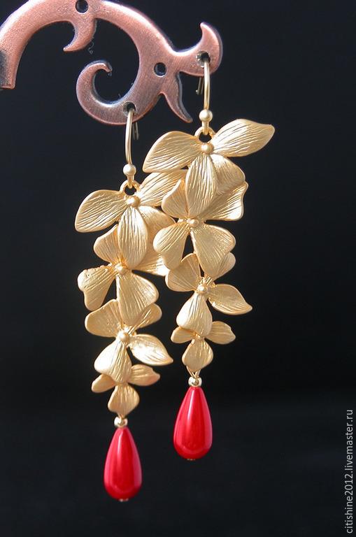 """Серьги ручной работы. Ярмарка Мастеров - ручная работа. Купить Серьги  - """"  Орхидея и коралл"""". Handmade. Золотой, кристаллы сваровски"""