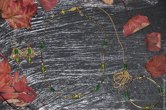 """Комплекты украшений ручной работы. Ярмарка Мастеров - ручная работа. Купить """"Осенняя листва весны"""". Handmade. Зелень, бусины стеклянные"""