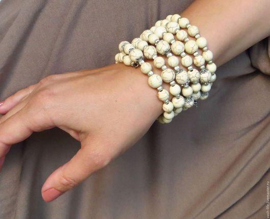 Браслеты ручной работы. Ярмарка Мастеров - ручная работа. Купить Браслет из натурального камня. Handmade. Белый, слоновая кость, камни