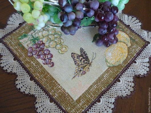 Текстиль, ковры ручной работы. Ярмарка Мастеров - ручная работа. Купить Ланчмат, подтарельник, салфетка для сервировки Бабочка с лимоном. Handmade.