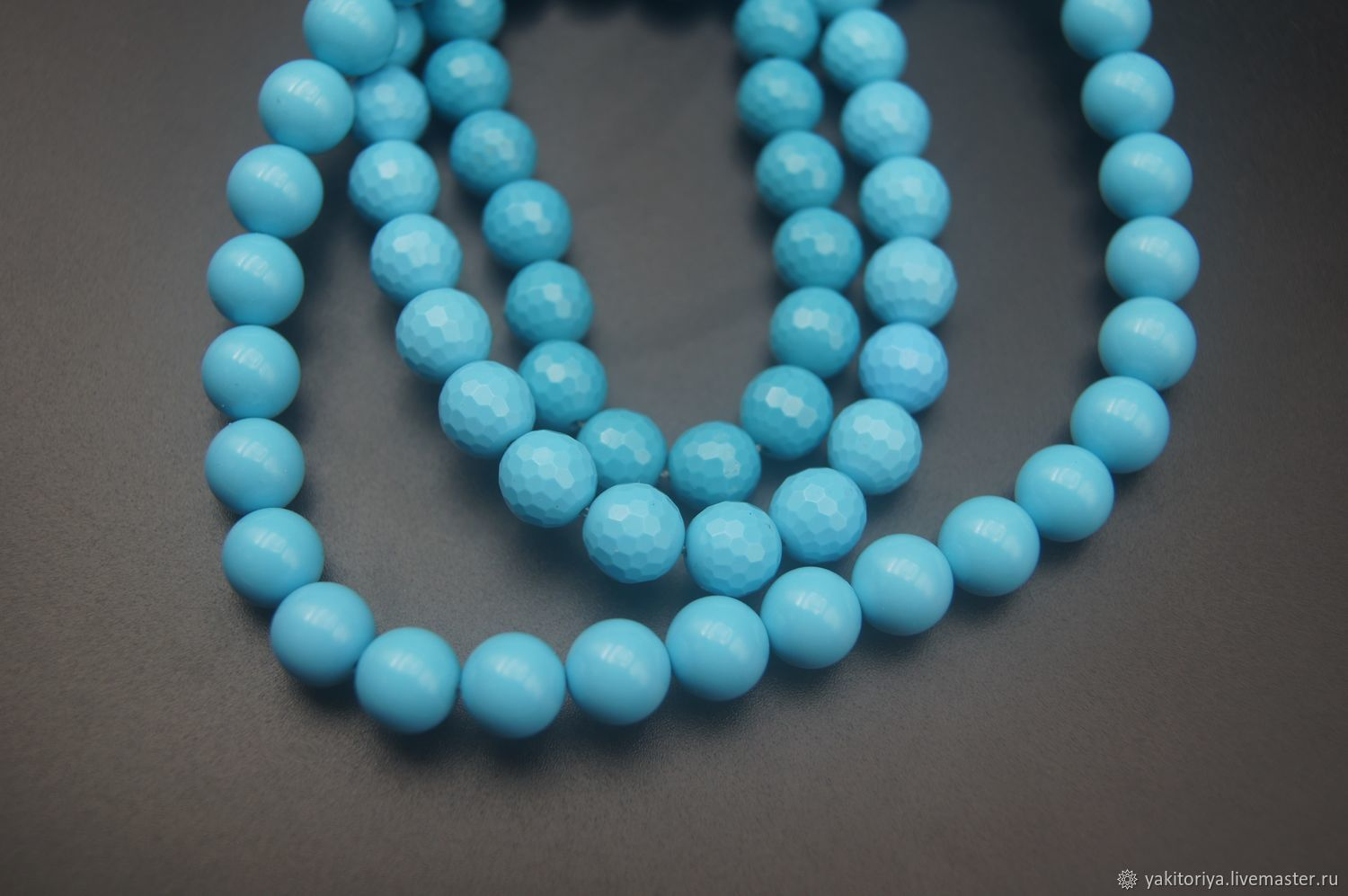 Turquoise blue stabilized bead smooth and faceted, Beads1, Moscow,  Фото №1