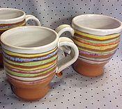 Посуда ручной работы. Ярмарка Мастеров - ручная работа Чашки полосатые. Handmade.