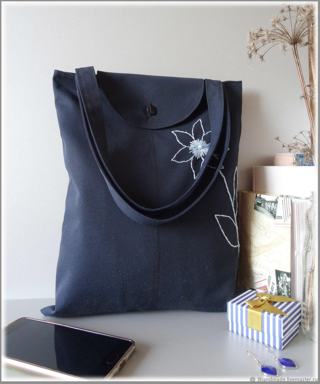 """Эко-сумка """"Синяя"""" - непромокаемая сумка, ручная вышивка, авоська"""