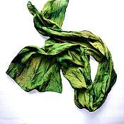 Аксессуары ручной работы. Ярмарка Мастеров - ручная работа шарф шелковый оттенки зелёного ручная окраска не прозрачный. Handmade.