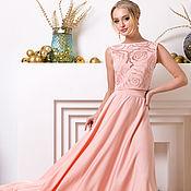 Одежда ручной работы. Ярмарка Мастеров - ручная работа Персиковое шёлковое платье в макси длине. Handmade.