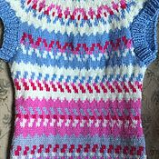 Одежда handmade. Livemaster - original item Knitted vest lopapeysa cashmere blue and white. Handmade.