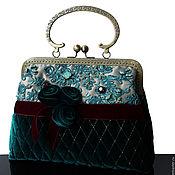 Сумки и аксессуары handmade. Livemaster - original item Velvet handbag, vintage style handbag emerald velvet. Handmade.