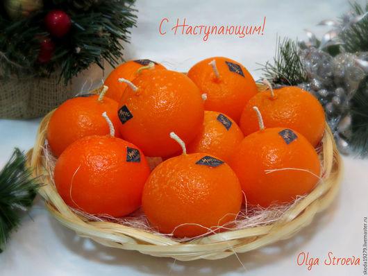 """Свечи ручной работы. Ярмарка Мастеров - ручная работа. Купить Новогодняя свеча """"Мандарин"""". Handmade. Свечи ручной работы, оранжевый"""