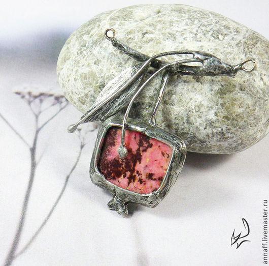 """Кулоны, подвески ручной работы. Ярмарка Мастеров - ручная работа. Купить Подвеска """"Веточка с гранатом"""", родонит, натуральный камень (ОТЛОЖЕНО). Handmade."""