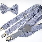 Аксессуары handmade. Livemaster - original item Set bow tie and suspenders grey with twigs. Handmade.