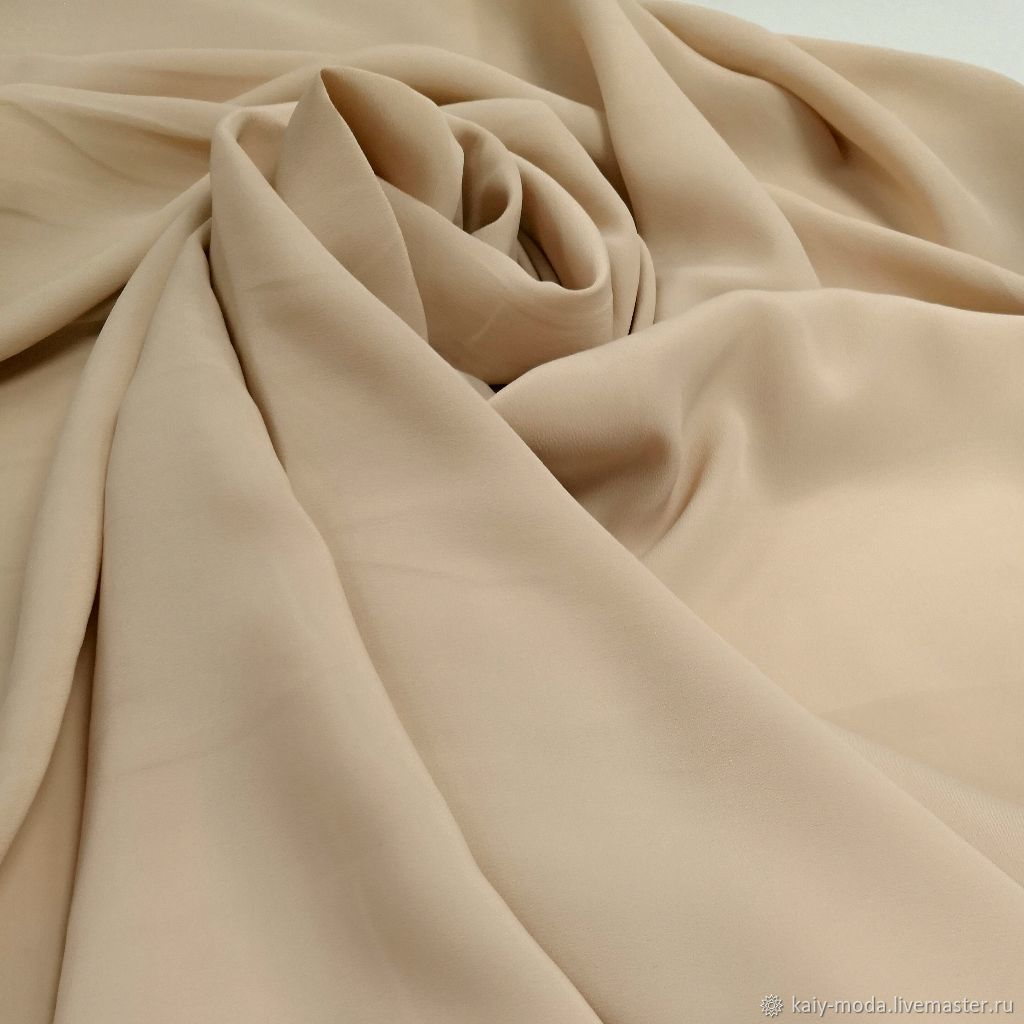 Natural matte silk-cream brulee, warm beige, Fabric, Moscow,  Фото №1