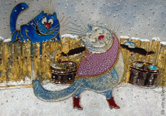 Stained glass painting Carries our water... Blue cats by Rina, Sanuk, Pictures, Severodonetsk,  Фото №1