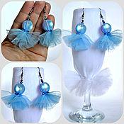 Украшения handmade. Livemaster - original item Blue earrings made of tulle and crystal beads. Handmade.