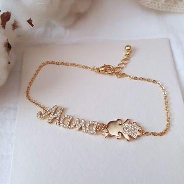 """Украшения ручной работы. Ярмарка Мастеров - ручная работа Позолоченный браслет со словом """"мама"""" и фигуркой девочки или мальчика. Handmade."""