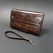 Сумки и аксессуары handmade. Livemaster - original item Clutch purse № 3 Dark brown aged Italian leather.. Handmade.