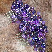 Свадебный салон handmade. Livemaster - original item Bridal comb.Double crest. Violet comb.. Handmade.